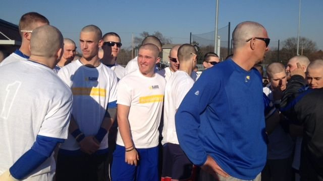 Wren baseball players shave their heads (Fox Carolina)