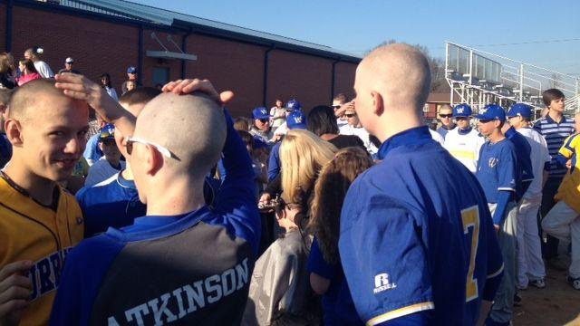 Wren baseball players shave their heads (Fox Carolina)