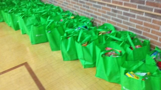 Food bags packed by members of Christ Church Episcopal  (Fox Carolina)