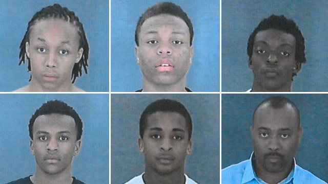From top-left to bottom-right: Tyree Blue, Montrell Coker, Jeffrey Howard Jr., Aaron Simmons, Marcus Vance, Irby Watkins. (Source: Mauldin Police Dept.)