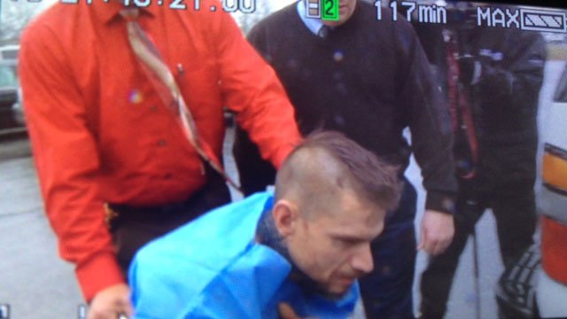 Jared Williams being wheeled into jail; accused of killing three in Pelzer (March 6, 2014/FOX Carolina)