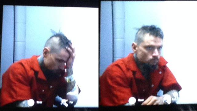 Jared Williams at his bond hearing on Friday. (March 7, 2014/FOX Carolina)