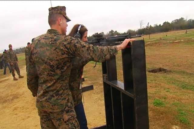 Riverside teacher Kelly Ackerman at the rifle range on Parris Island (Fox Carolina 2014)