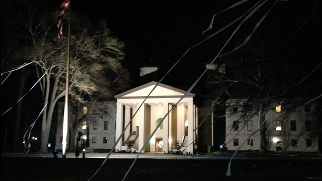 Students and fans celebrated the Terriers' win with a little TP on campus. (March 11, 2014/FOX Carolina)