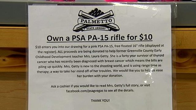Raffle information on the pink gun drawing. (March, 12, 2014/FOX Carolina)