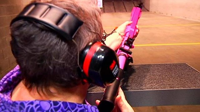 Laura Getty practices with her new custom gun. (March, 12, 2014/FOX Carolina)