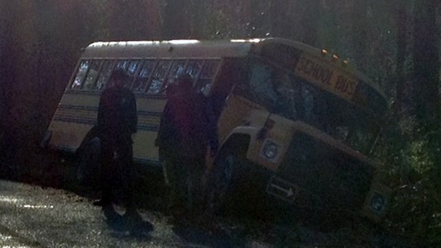 A school bus appeared to have run off the side of the road. (March 13, 2014/FOX Carolina)