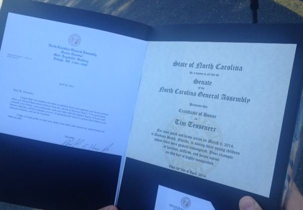 Certificate of honor presented to Timothy Tesseneer. (FOX Carolina)