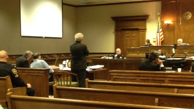 Blackwell (third from left) awaits closing arguments to begin Sunday. (March 16, 2014/FOX Carolina)