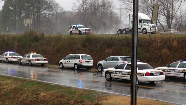 Deputies out on Old Stagecoach Road near Highway 8 looking for the inmate. (March 17, 2014/FOX Carolina)