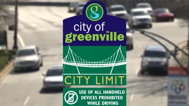 An example of the city's distracted driving sign. (Source: City of Greenville)