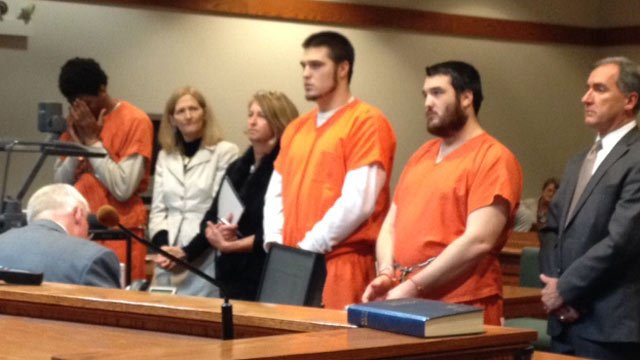 Ramsey, Jordan Dalton and Jaron Dalton in court on Tuesday. (March 18, 2014/FOX Carolina)