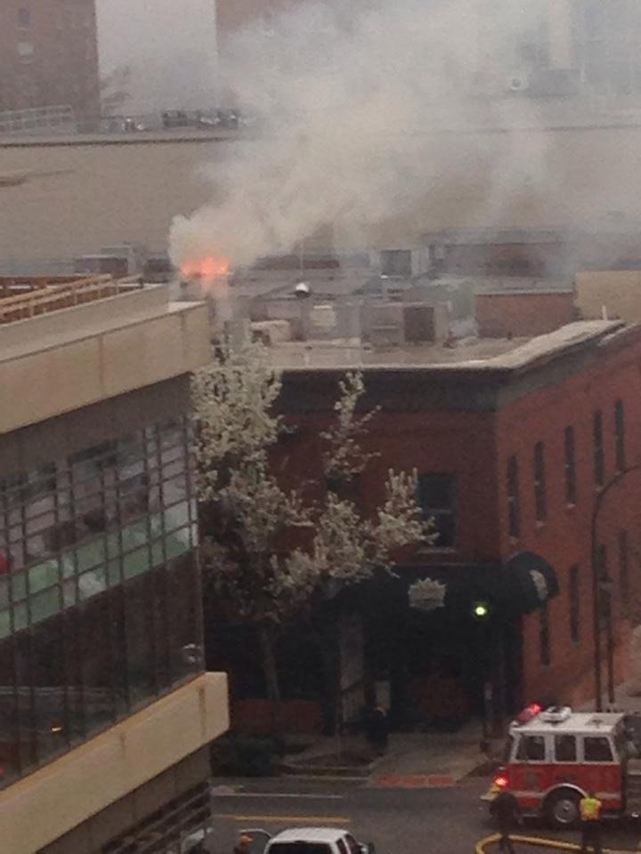 Flames atop the Wild Wing's building in downtown Greenville. (March 19, 2014/FOX Carolina iWitness)