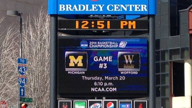 The Michigan-Wofford game was played at the Bradley Center in Milwaukee. (March 20, 2014/FOX Carolina)
