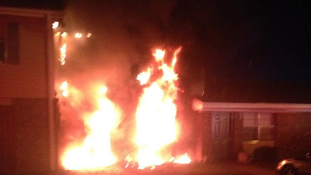 Flames shoot through one of the apartments. (March 20, 2014/Anderson City Fire Dept.)