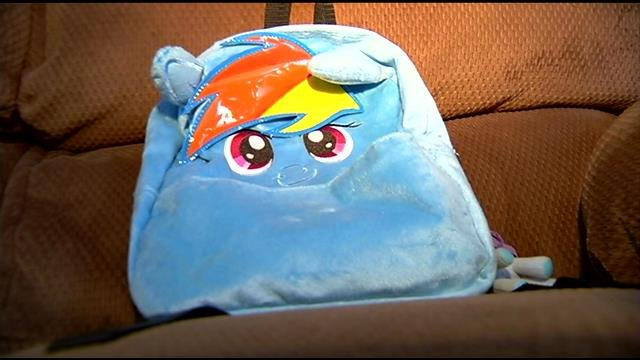 Grayson's Rainbow Dash backpack. (March 14, 2014/FOX Carolina)