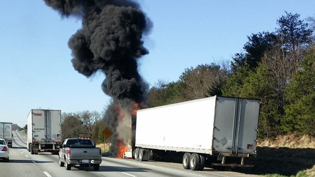 The truck fire along I-85 southbound. (March 21, 2014/FOX Carolina iWitness)