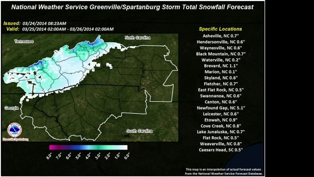 GSP National Weather Service Snow Total Forecast