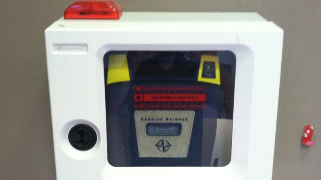 An AED at the school. (March 25, 2014/FOX Carolina)