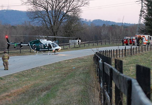 Scene of the crash along Tubbs Mountain Road. (Credit: Travelers Rest Tribune)