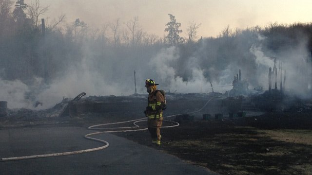 The fire completely destroyed the home in Enoree. (March 27, 2014/FOX Carolina)