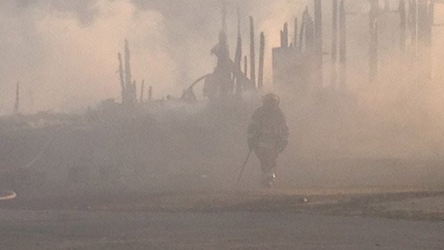 Firefighters from multiple agencies assisted in fighting the fire. (March 27, 2014/FOX Carolina)