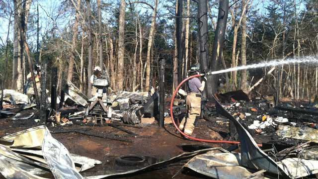 The fire destroyed a shed on Thursday. (March 27, 2014/FOX Carolina)