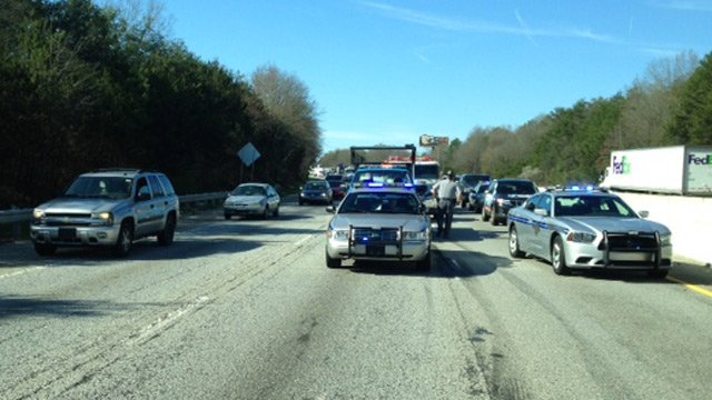 Traffic is stopped along two inside lanes near MM 67. (March 31, 2014/FOX Carolina)