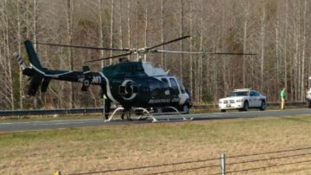 A medical helicopter was seen near the site of the crash. (Source: iWitness)