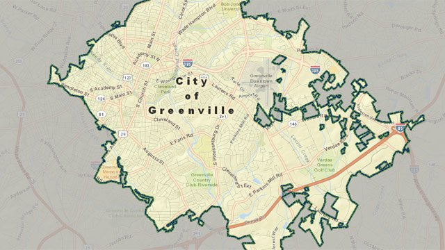 A map of some of the boundaries of the city limits. (Source: City of Greenville)