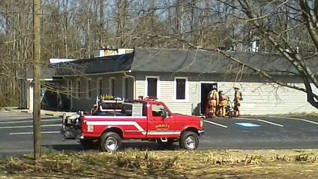Firefighters respond to Holden's Ranch fire on Monday. (March 31, 2014/FOX Carolina iWitness J. Revels)