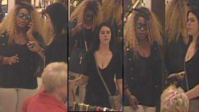 Police are working to identify 2 women in black shirts. (Source: Greenville Police Dept.)