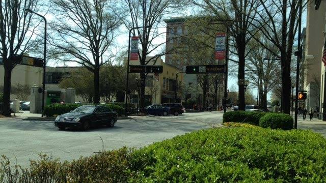 Police say the hit-and-run happened at McBee and Main. (April 2, 2014/FOX Carolina)
