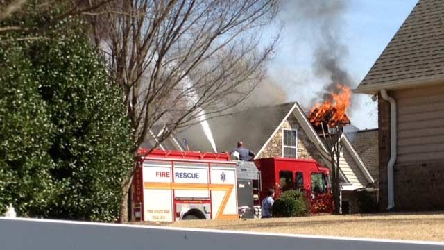 Flames could be seen at a structure off Dillard Road. (April 2, 2014/FOX Carolina)