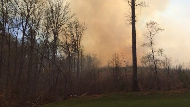 Picture of a brush fire in Central Wednesday afternoon (Apr. 2, 2014/Source: FOX Carolina iWitness)