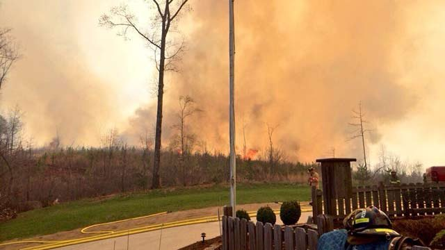 The fire started Wednesday afternoon on Brown Bottom Road, off Seneca Road. (Apr. 2, 2014/Source: FOX Carolina iWitness)