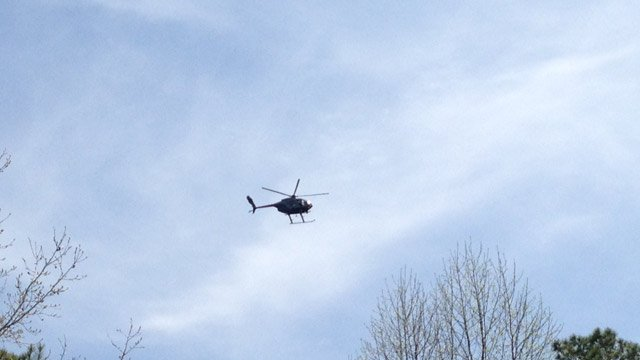 Choppers were assisting in the search in Newberry on Thursday. (April 3, 2014/FOX Carolina)