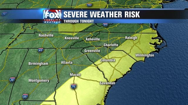 Yellow areas indicate a higher chance for severe storms