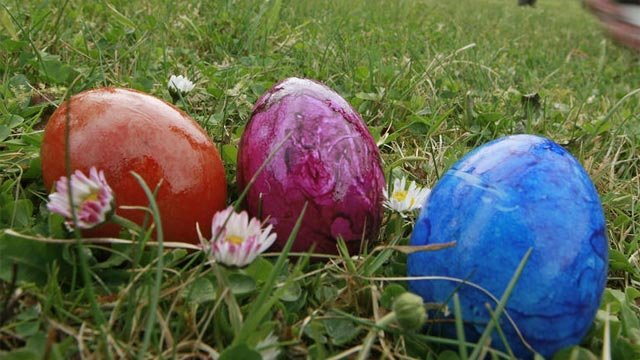 Easter eggs in grass. (File/Associated Press)