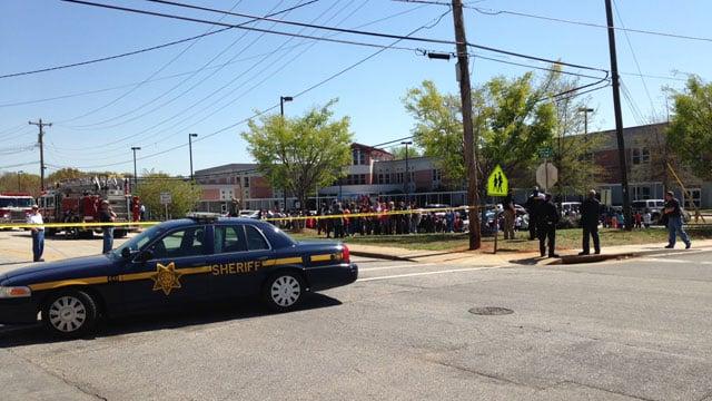 Students evacuated from the school.  (April 10, 2014/FOX Carolina)