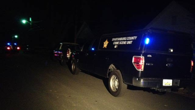 The Spartanburg County Crime Scene Unit was at the scene of the shooting on Thursday. (April 10, 2014/FOX Carolina)