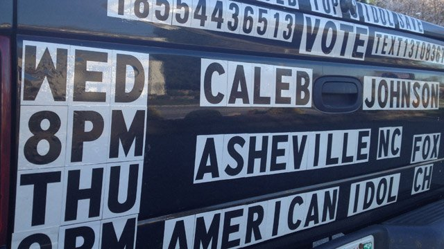 Johnny Honeycutt's truck is decorated to support Caleb Johnson. (April 10, 2014/FOX Carolina)