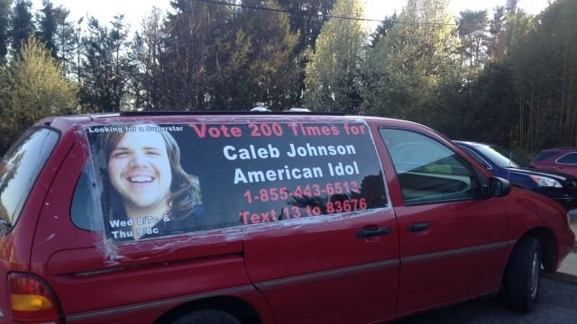 Caleb's father David Johnson shows his support with his van too. (April 10, 2014/FOX Carolina)