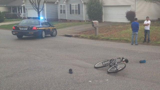 A boy was struck while riding his bike on Monday. (April 14, 2014/FOX Carolina)