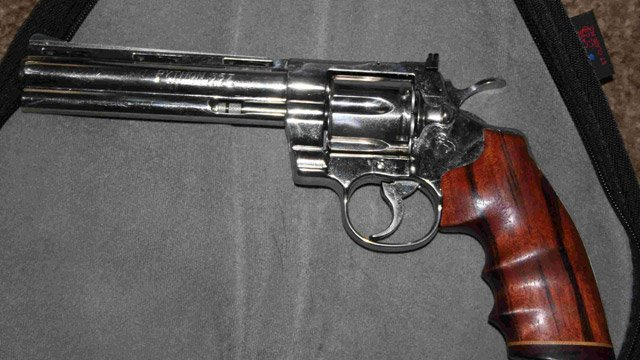 A photo of the stolen nickel-plated Colt Python gun. (Courtesy: Burglary victim)