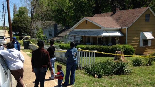 Family gathered outside of Davis' Union Boulevard home. (April 16, 2014/FOX Carolina)