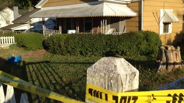 A body was found behind the house on Wednesday evening. (April 16, 2014/FOX Carolina)