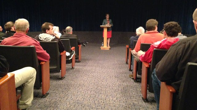 Rep. Wendy Nanney addresses the public at Tuesday's town hall meeting. (April 15, 2014/FOX Carolina)