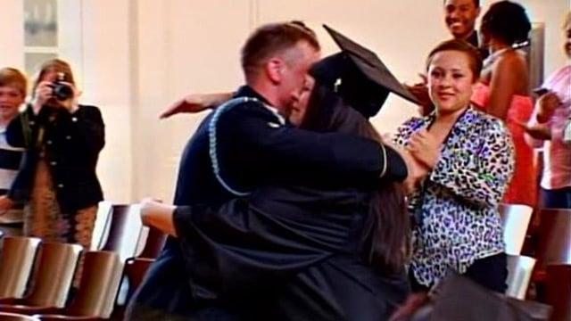 Brandon Shreve surprises his mother after his return from overseas. (April 17, 2014/FOX Carolina)