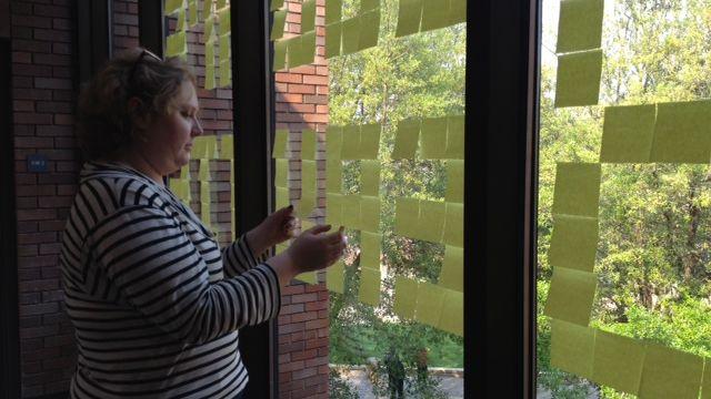 "Emily Brogan posted ""You Are Beautiful"" on a window.  (Fox Carolina 2014)"